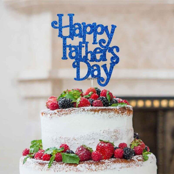 Happy Father's Day Cake Topper Glitter Card Dark Blue