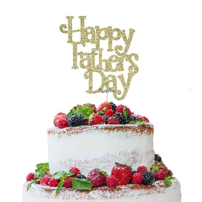 Happy Father's Day Cake Topper Glitter Card Gold