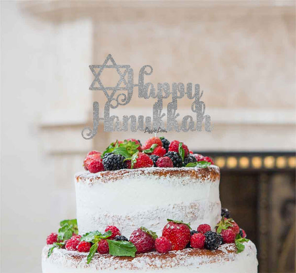 Happy Hanukkah Cake Topper Glitter Card Silver