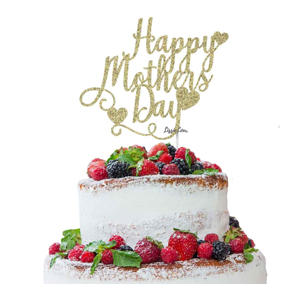 Happy Mother's Day Cake Topper Glitter Card Gold