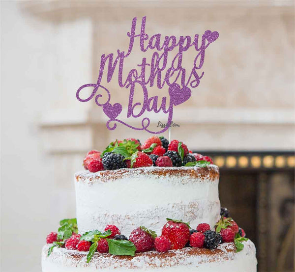 Happy Mother's Day Cake Topper Glitter Card Light Purple