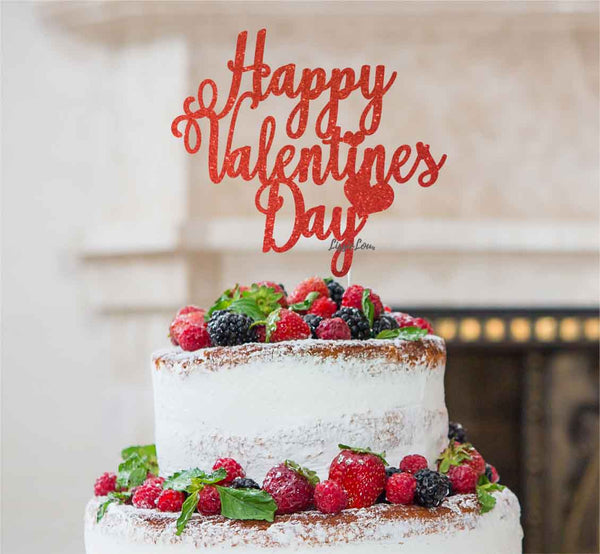 Happy Valentine's Day Cake Topper Glitter Card Red