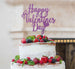 Happy Valentine's Day Cake Topper Glitter Card Light Purple