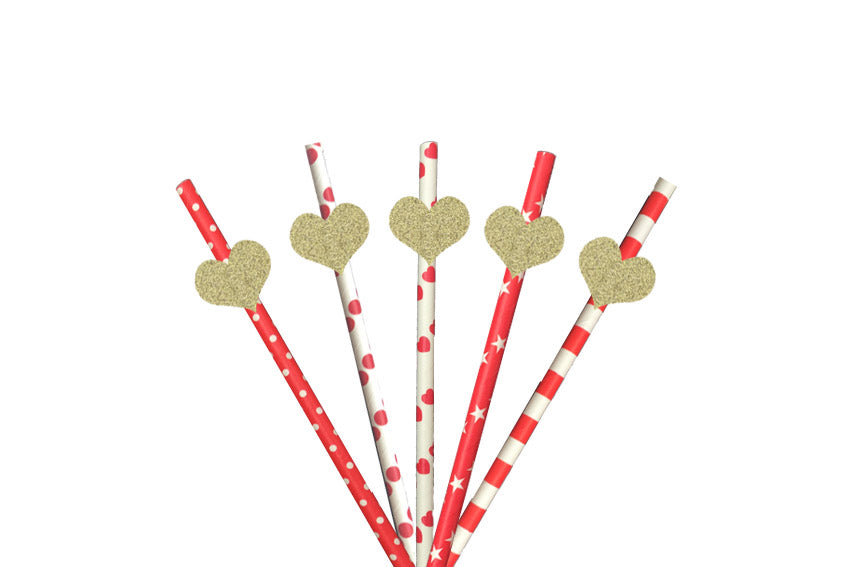 Heart Party Straws - Glittery Gold with Red Straws