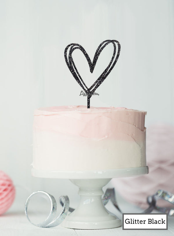 Multi Heart Wedding Valentine's Cake Topper Premium 3mm Acrylic Glitter Black