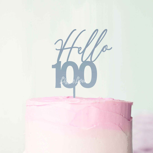 Hello 100 Frosted Blue Cake Topper