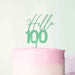 Hello 100 Frosted Green Cake Topper