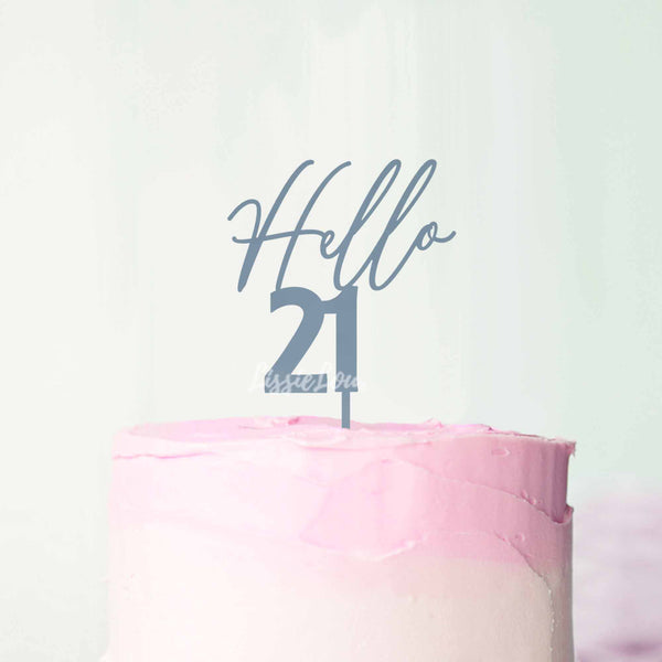 Hello 21 Frosted Blue Cake Topper