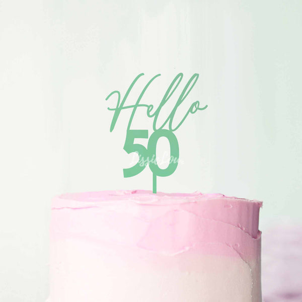 Hello 50 Frosted Green Cake Topper