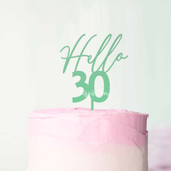Hello 30 Frosted Green Cake Topper