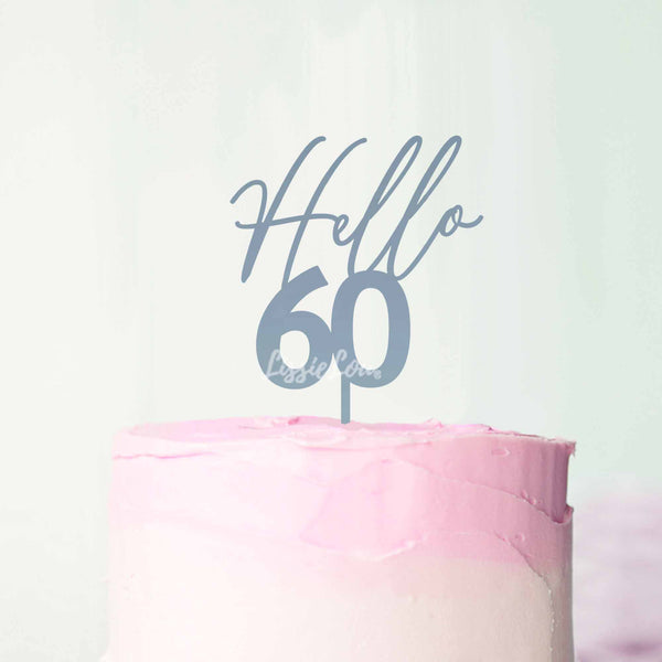 Hello 60 Frosted Blue Cake Topper