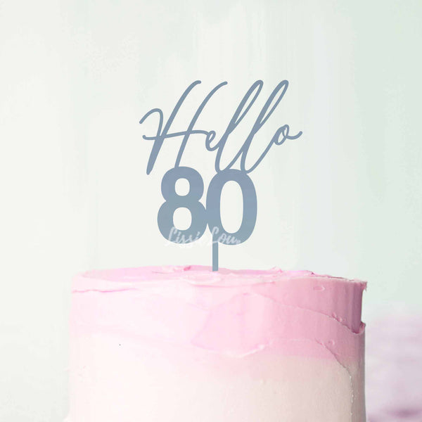 Hello 80 Frosted Blue Cake Topper