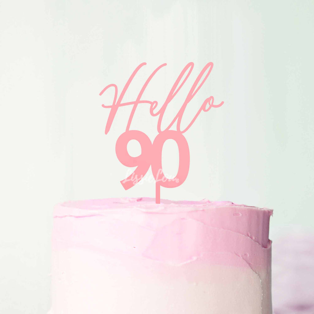 Hello 90 Cake Topper Frosted Pink