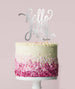 Hello Fifty Birthday Cake Topper Mirror Card Silver