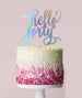Hello Forty Birthday Cake Topper Mirror Card Iridescent