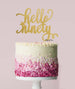 Hello Ninety Birthday Cake Topper Mirror Card Gold
