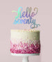 Hello Seventy Birthday Cake Topper Mirror Card Iridescent