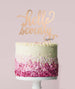 Hello Seventy Birthday Cake Topper Mirror Card Rose Gold
