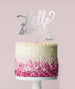 Hello Seventy Birthday Cake Topper Mirror Card Silver