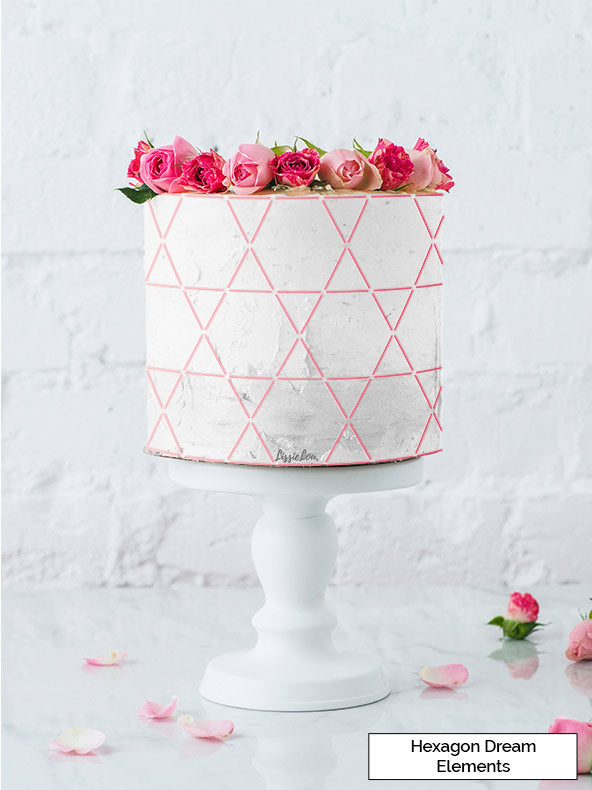 Hexagon Dream Elements Cake Stencil - Full Size Design
