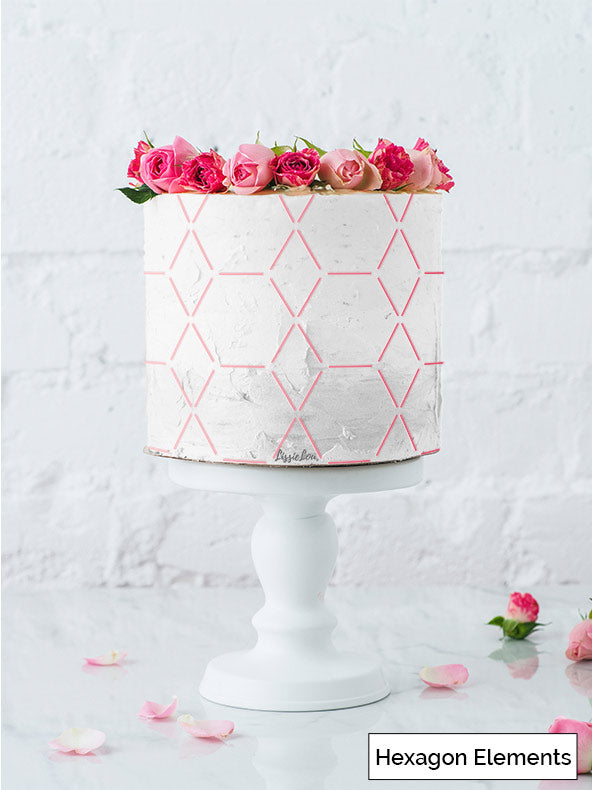 Hexagon Elements Cake Stencil - Full Size Design
