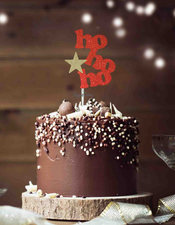 hohoho with Star Christmas Cake Topper Glitter Card Red and Gold