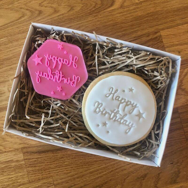 Happy Birthday with Stars Cookie Stamp