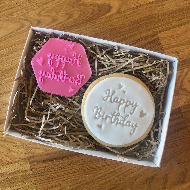 Happy Birthday with Hearts Cookie Stamp