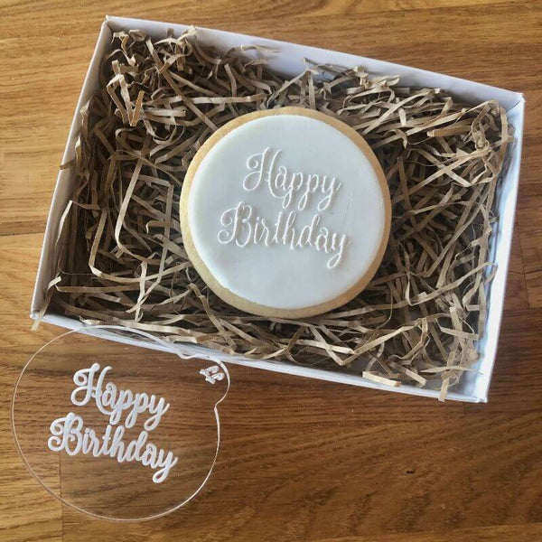 Happy Birthday Cookie Embosser in Curly Font