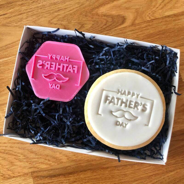 Happy Father's Day with Moustache Style 3 Cookie Stamp