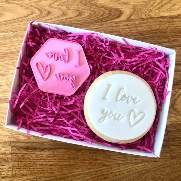 I Love You with Heart Cookie Stamp