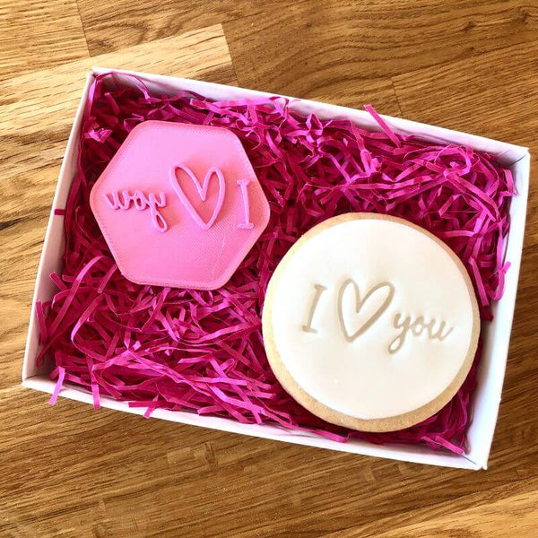 I Heart You in a line Cookie Stamp