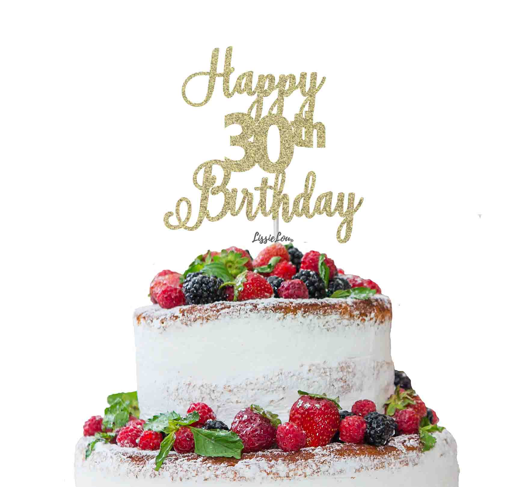 Marvelous Happy 30Th Birthday Pretty Cake Topper Glitter Card Lissielou Personalised Birthday Cards Veneteletsinfo