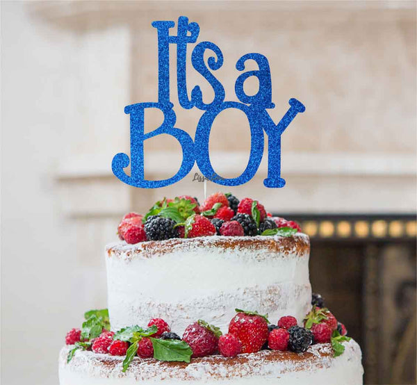 8fd49b83d4a0d It's a Boy Baby Shower Cake Topper Glitter Card