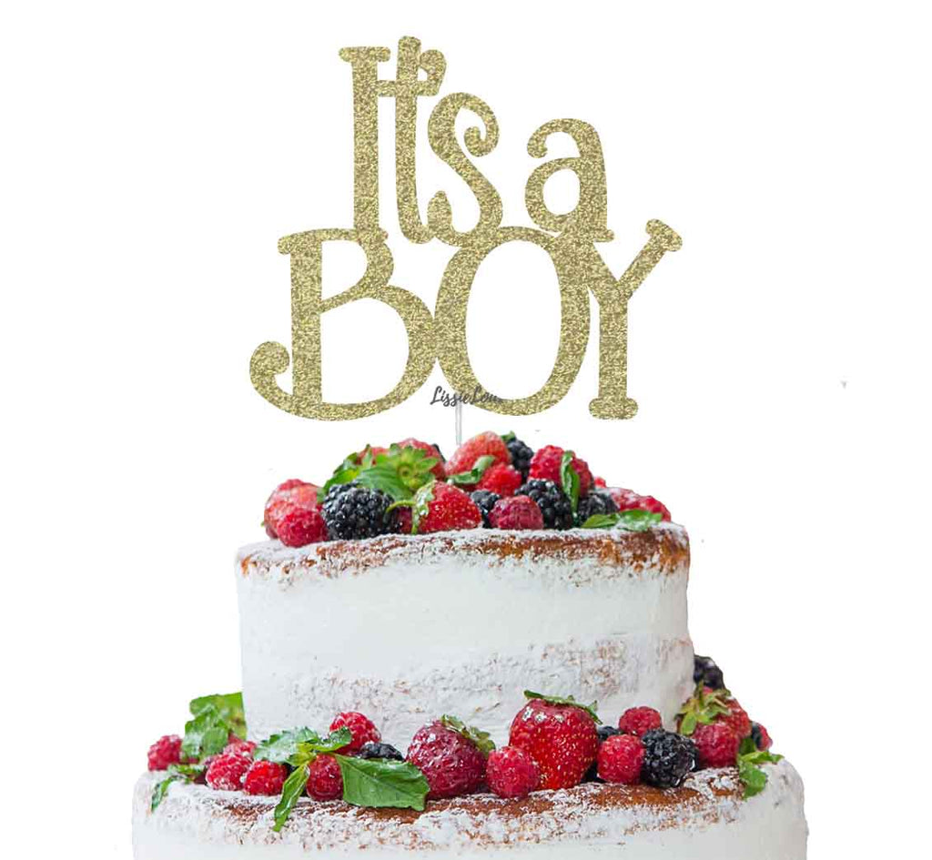 It's a Boy Baby Shower Cake Topper Glitter Card Gold