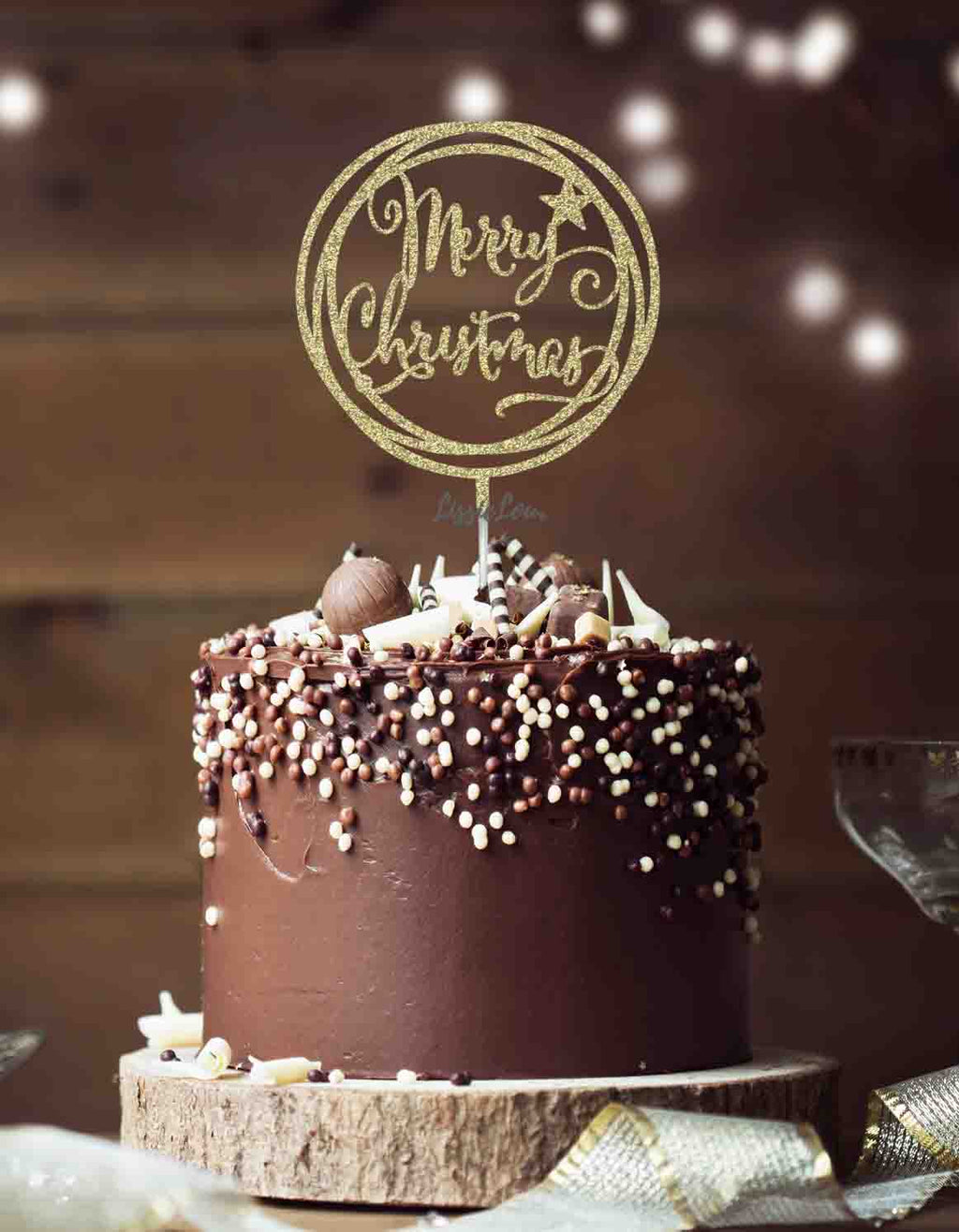 Merry Christmas Circle Cake Topper Glitter Card Gold