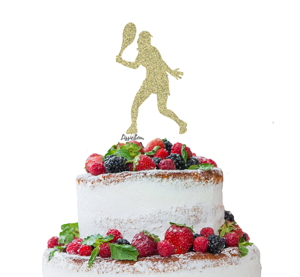 Tennis Female Cake Topper Glitter Card Gold