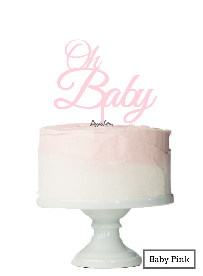 Oh BABY Baby Shower Cake Topper Premium 3mm Acrylic Baby Pink