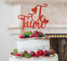 Je T'aime I Love You Cake Topper Glitter Card Red