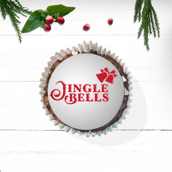 Jingle Bells Cupcake Stencil - Cupcake Size Design