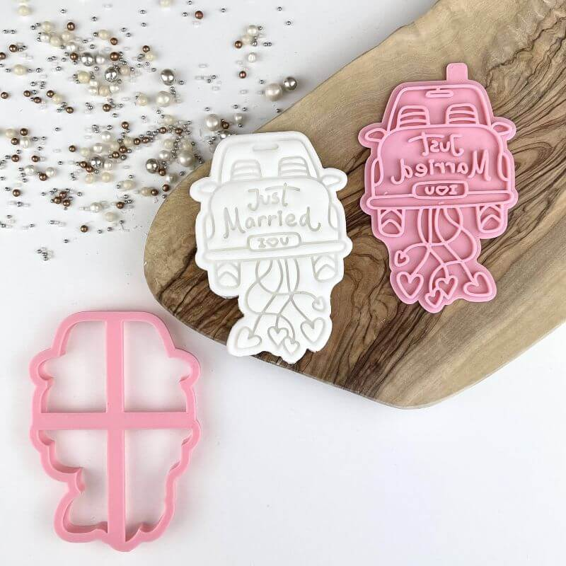 Just Married Wedding Car Cookie Cutter and Stamp
