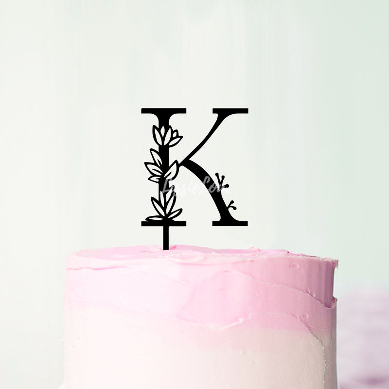 Wedding Floral Initial Letter K Style Cake Topper