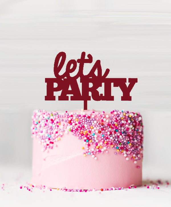 Let's Party Acrylic Cake Topper Red