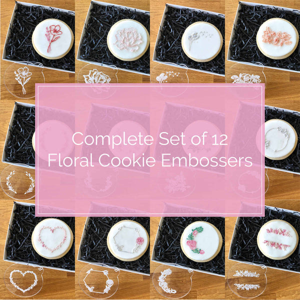 Complete Floral Set of 12 Cookie Embossers