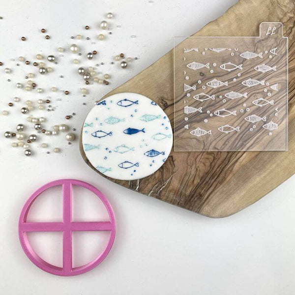 Little Fish Under The Sea Texture Tile Cookie Cutter and Embosser