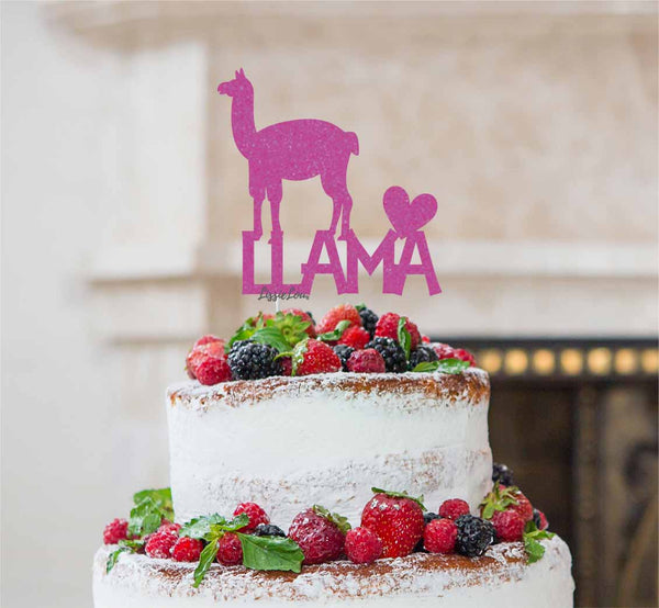 Llama Cake Topper Glitter Card Hot Pink