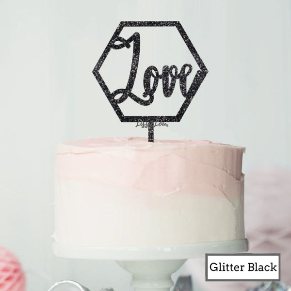 Love Hexagon Cake Topper Premium 3mm Acrylic