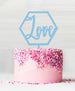 Hexagon Love Acrylic Cake Topper Baby Blue