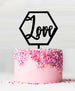 Hexagon Love Acrylic Cake Topper Black