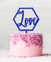 Hexagon Love Acrylic Cake Topper Dark Blue